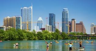 Austin skyline and people having fun